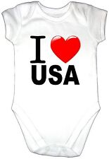 I LOVE USA Baby Grow Gro Vest Clothes Heart Bodysuit United States America