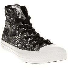 New Womens Converse Black Grey All Star Hi Textile Trainers Canvas Lace Up