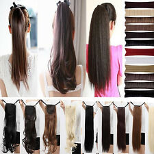 real quality long Straight Curly tie up clip in ponytail hair Extensions wm