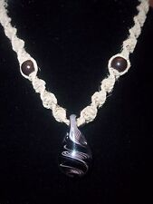 "New Hand Crafted Hemp Necklace with ""Hand Blown""  Black & White Glass Pendant"