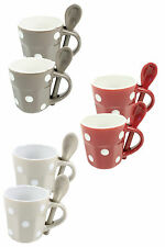 Polka Dot Ceramic Espresso Cup and Spoon, Spotty Coffee Cup Gift Set of 2
