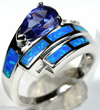 Tanzanite and Blue Fire Opal Inlay Solid 925 Sterling Silver Ring size 6,7,8,9
