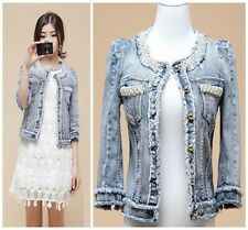 Sale! New Women Pearl Beading Casual Denim Jeans Jacket Short Coat Outerwear -H
