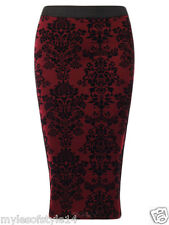 Womens High Waist Velvet Baroque Print Stretch Bodycon Wiggle Pencil Midi Skirt