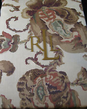 "RALPH LAUREN FLORAL TABLECLOTH-""HADLEY""/TAN - 100% COTTON -60 x 104"
