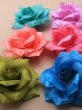 Layered fabric rose on a forked clip with a brooch pin. pink, green,blue,lilac,p
