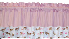 New pretty window HORSE pony pink on white VALANCE for GIRLS cowgirls Western