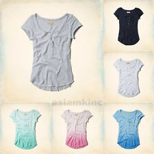 Hollister Women T-Shirt New Jetty Henley Fashion Top XS S M L