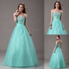 Stock Aqua Long Formal Sweet Sixteen Dresses Prom Dress Quinceanera Ball Gowns