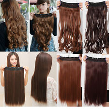trendy 17/23 clips in hair extension half Head straight curly stylish black wm