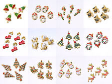 5PCS Mixed Gold Plated Enamel Christmas Gifts Charms Tree Deer Snowflake Pendant