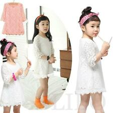 Fashion Kids Girls Toddler Baby sleeve Lace Princess Party Dresses Skirt Clothes