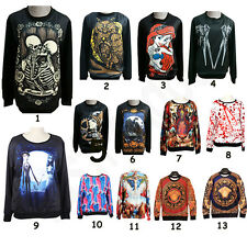 Mens Womens 3D Skull Galaxy Mermaid Pullover Hoodie T Shirt Sweater Sweatshirt