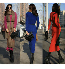 HOT SEXY WOMEN STRETCHY LONG SLEEVE KNIT MAXI DRESS GOWN SWEATER MULTI-COLOR