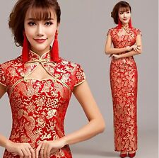 Red sexy Chinese's Cheongsam Formal Evening Prom Party Dress Ball Gown Gift L216