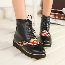 Women Ankle Boots Platform Ethnic Creeper Lace Up Pump Knight Riding Chic Shoes