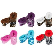 SNOOZIES! Ladies Animal Print Slippers. Girlie Cozy,Warm Non-Slip and Washable