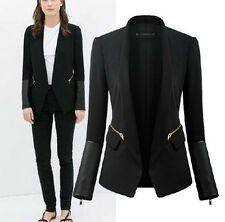 PU Leather Stitching Small Blazer 2014 Womens Long Sleeve Stand Collar Suit - H