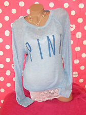 Nwt VICTORIAS SECRET SHEER BLUE STRETCH PULLOVER SWEATER BLOUSE TOP PINK M
