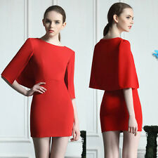 Stylish Occident Womens Red Slim Fit Cape Style Hips-Wrapped Short Dress Tops