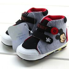 Baby Toddler Girl Boy Soft Sole mickey mouse Crib Shoes PreWalker 0-18 Months