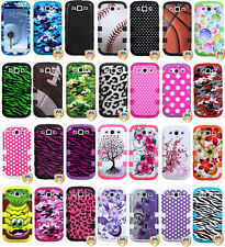 DESIGN TOUGH TUFF RUBBER SKIN + HARD CASE for SAMSUNG GALAXY model cell phones