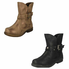 GIRLS SPOT ON CASUAL ANKLE BOOTS WITH ZIP FASTENER & BUCKLE STRAP STYLE: H4103
