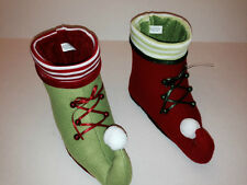 Decorative Christmas Holiday Elf Shoe Container - Choose RED or GREEN