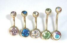 1.6mm 14g x 6mm - 14mm GOLD PVD TITANIUM DOUBLE CRYSTAL JEWELLED BELLY NAVEL BAR