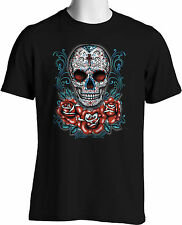 Dia De Los Muertos Sugar Skull T shirt Gothic Blue Roses Small to 6XL Big  Tall
