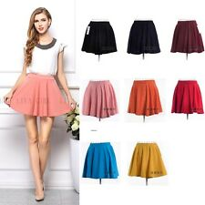 8 Colors Womens Girls Plain High Elastic Waist Short Mini Skirt Pleated Dress