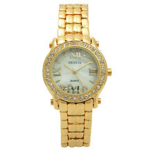 Geneva Stainless Lovely Floating and Encrusted Crystal Roman Numeral Women Watch