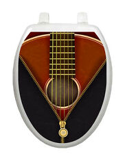 Toilet Tattoos Toilet Seat Decor Classic Guitar Bathroom Decoration Brown