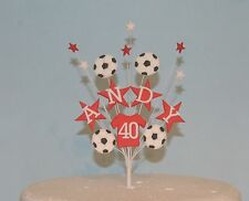Football cake topper with stars on wires name age 18th 21st 40th birthday