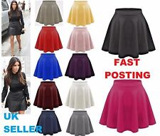 Ladies Skirts Womens Flared Plain Mini Skater Skirt Sizes UK 8 10 12 14 16 18 20