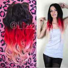 """Black Brown Red Balayage Ombre Dip Dye Clip In Remy Human Hair Extensions 20"""""""