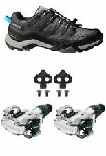 Shimano MT44 Trail Cycling MTB Shoes & PDM520 SILVER Pedals & SH51 Cleats Combo