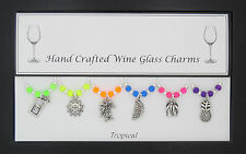 Tropical Set of Wine Glass Charms Present Hen Party Beach Holiday wedding Travel