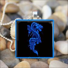 """BLUE CHINESE DRAGON"" FANTASY LIZARD GLASS TILE PENDANT NECKLACE KEYRING"