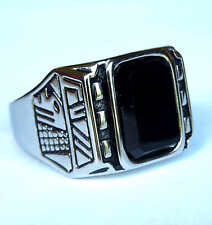 man's stainless steel black onyx ring size 9,10,11,12,13,14 (big shape)