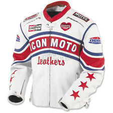 Icon Retro White/Red Leather jacket Size: LARGE  ***FREE 24H DELIVERY***