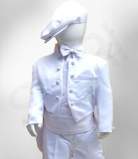 Baby Boys 6PC White Christening Baptism Outfit Boy Tailcoats Suits With Cross
