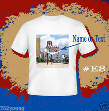 Custom Personalized T-shirts with Photo Name Text Logo (Las Vegas Sign E8)