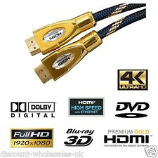 24K HDMI PRO Cable PREMIUM HD High Speed Ethernet Gold 1080p BRAIDED LEAD.g012