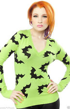 Sourpuss BATTY SWEATER Bat lime GREEN cardigan sweater top pinup Vintage STYLE