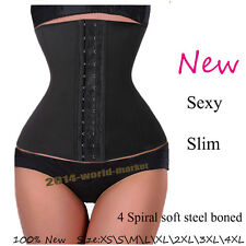 Pure Black Waist Tummy Girdle Belt Body Shaper Cincher Underbust Control Corset