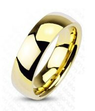6mm Traditional Titanium Wedding Band Ring Yellow Gold Plated Classic ComfortFit
