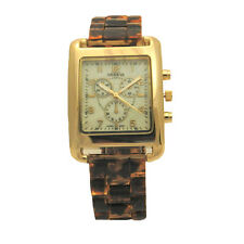 Geneva Tortoise Shell Chrono Mother of Pearl Large Rectangular Case Runway Watch