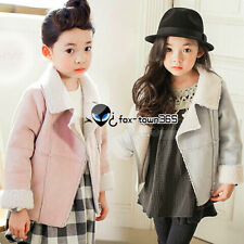 Winter Warm Kids Girls Child Baby Lapel Zipper Sherpa Suede Coat Jackets 2-7Y