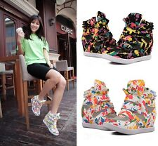 Womens Fashion High Top Velcro Sneakers Hidden Wedge Leather Ankle Boots Shoes